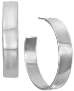 "Alfani Silver-Tone Medium Wide Open Hoop Earrings, 1.3"", Created for Macy's"