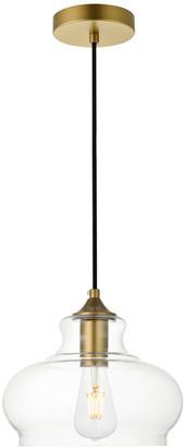 "Elegant Furniture & Lighting 9.4"" Retro Modern 1-Light Pendant With Clear Glass, Brass"