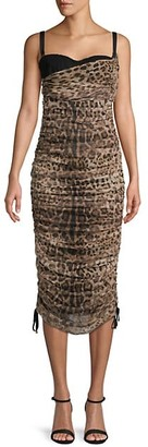 Dolce & Gabbana Ruched Animal-Print Midi Dress