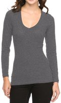 Ambiance Basic Jersey Cotton Wide V-Neck Long Sleeve Casual TEE SHIRT M