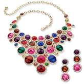 Seta Jewelry Round Multicolor Lucite And Crystal Necklace And Earrings Set.