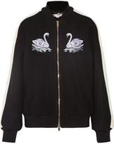 Stella McCartney Lorinda Embroidered Melton Wool-blend Bomber Jacket - Black
