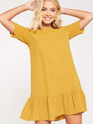AX Paris Frill Hem Shift Dress - Mustard