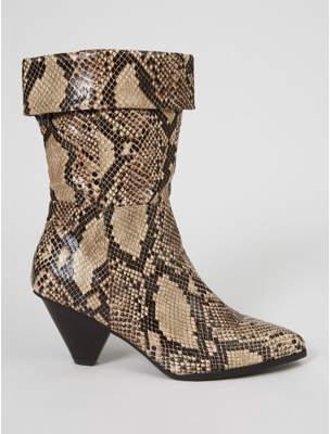 George Beige Snake Print Cone Heel Cuffed Boots