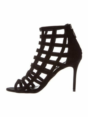 Barneys New York Suede Printed Boots Black