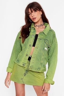 Nasty Gal Womens Vintage Dye-ing to See Ya Denim Jacket - Green - S/M, Green