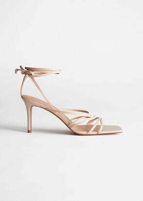 And other stories Square Toe Leather Heeled Sandals