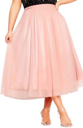City Chic Tulle Midi Skirt