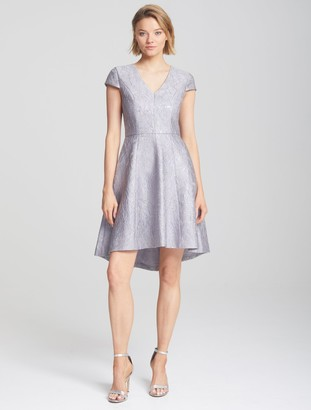 Halston Floral Metallic Dress
