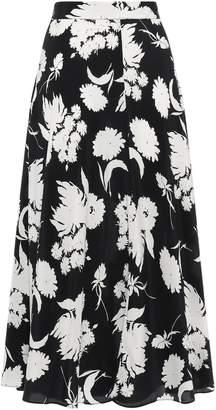 Ganni Floral-print Silk Crepe De Chine Midi Skirt
