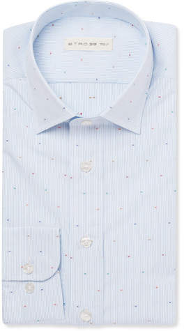Etro Light-Blue Striped Fil Coupé Cotton Shirt