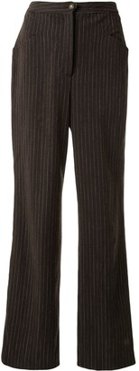 Chanel Pre Owned Pinstriped Straight Trousers