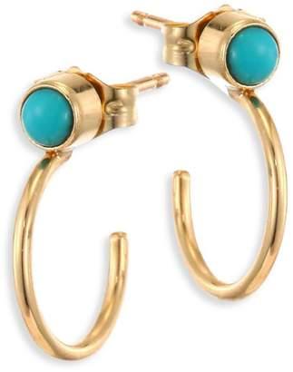 Chicco Zoë Turquoise & 14K Yellow Gold Thin Huggie Hoop Earrings