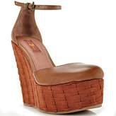 7 For All Mankind Yolanda - Cognac Leather Checkerboard Wedge Sandal