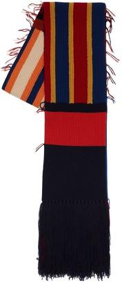 colville Knit Rib Intarsia Wool Scarf W/ Fringes
