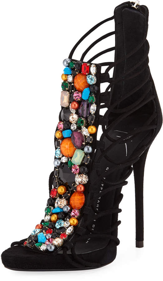 Giuseppe Zanotti Embellished High-Heel Dressy Sandal