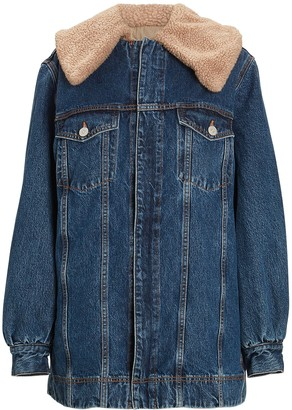 Ganni Teddy Oversized Denim Trucker Jacket