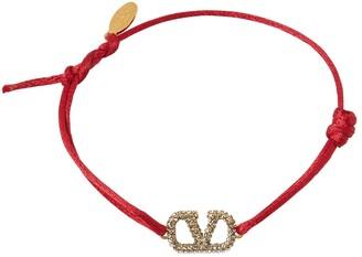 Valentino Crystal V Logo Signature Slim Bracelet