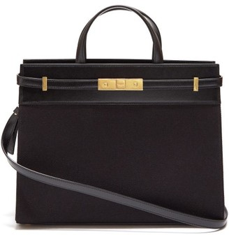 Saint Laurent Manhattan Small Canvas And Leather Tote Bag - Womens - Black