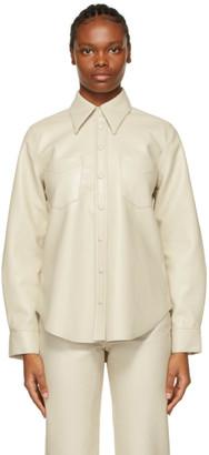 AGOLDE Off-White Vegan Leather Paloma Shirt
