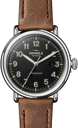 Shinola Men's 45mm Runwell Automatic Leather Watch