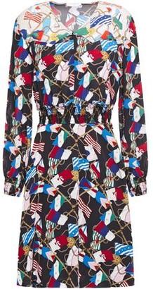 Sandro Indar Shirred Printed Crepe De Chine Mini Dress