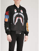 A Bathing Ape Logo-print shell bomber jacket