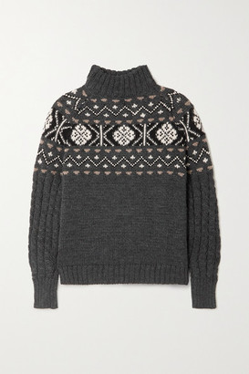 &Daughter + Net Sustain Maud Fair Isle Wool Sweater - Charcoal