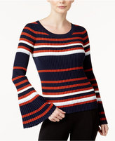 Bar III Striped Bell-Sleeve Sweater, Created for Macy's
