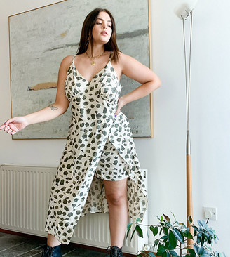 Noisy May Curve tiered midi dress with shorts in animal print