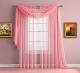 """Warm Home Designs Short Pink Rose Sheer Window Curtains. Each Voile Drape Is 56 X 63 Inches in Size. Great for Kitchen, Living Room, Bedroom, or Kids Room. 2 Panels Per Package. Color: Rose 63"""""""