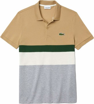 Lacoste Men's Short Sleeve Colorblocked Striped Regular Fit Pique Polo Shirt