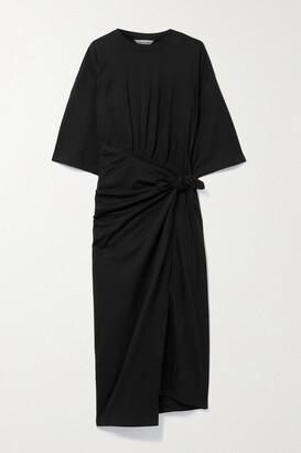 BALENCIAGA - Asymmetric Cotton-jersey Wrap Dress - Black