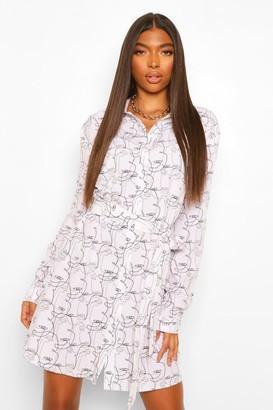 boohoo Tall Abstract Face Print Shirt Dress