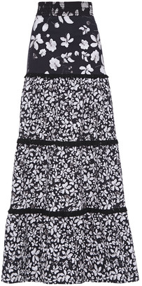 Isolda Tiered Floral-print Stretch-cotton Maxi Skirt