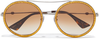 Gucci Round-frame Gunmetal-tone And Glittered Acetate Sunglasses