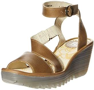 Fly London Yesk Women's Ankle Strap Wedge Sandals - Camel, (39 EU)