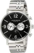 Akribos XXIV Men's AK782SSB Analog Display Swiss Quartz Silver Watch