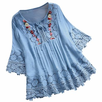 YBWZH Fashion Women Tops Vintage Lace Patchwork Bow V-Neck Seven Quarter Seleve Loose Blouses Tops T-Shirt Sky Blue