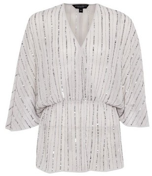 Dorothy Perkins Womens Silver Sequin Batwing Sleeve Top, Silver