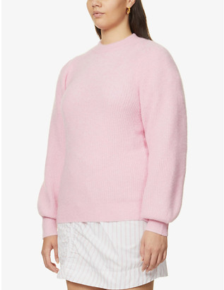 Ganni Puffed-sleeve knitted jumper