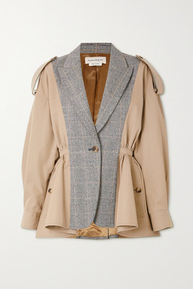 Alexander McQueen Cotton And Prince Of Wales Checked Wool Jacket - Beige