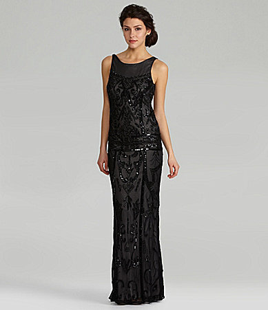 JS Collections Beaded Drop-Waist Gown