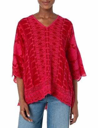 Johnny Was Women's Long Sleeve Tonal Embroidered Blouse