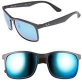 Ray-Ban Men's Wayfarer 58Mm Polarized Sunglasses - Matte Black/blue Flash