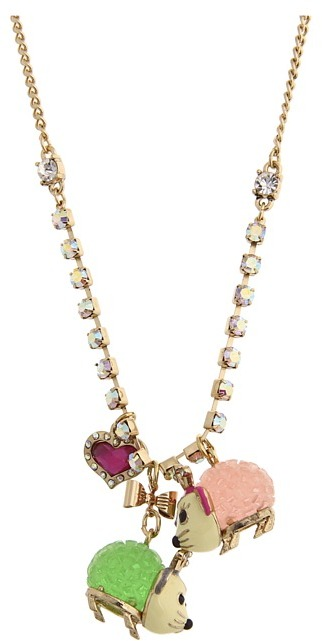 Betsey Johnson A Day At The Zoo Possum Pendant Necklace (Multi) - Jewelry
