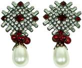 Kenneth Jay Lane Gunmetal & Crystal Clip Earring With Pearl Drop-Ruby