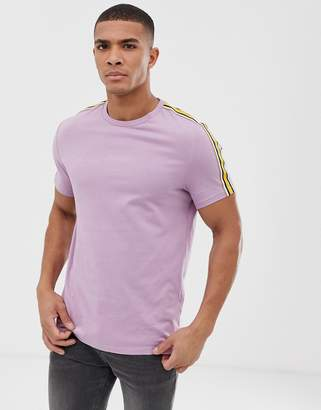 Asos Design DESIGN organic t-shirt with contrast shoulder taping in pink-Purple