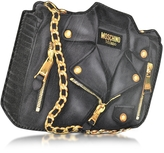 Moschino Black Biker Jacket Printed Leather Clutch