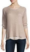 Neiman Marcus Sequin Sweater w/ Chiffon Trim